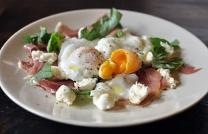 Proscuitto & Mozeralla with Poached Eggs salad
